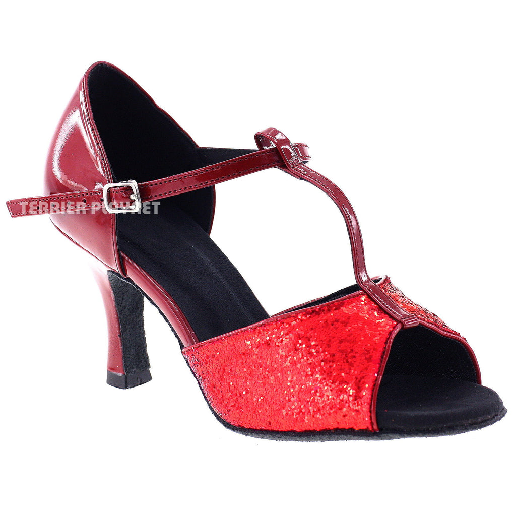 Red Women Dance Shoes D519 - Terrier Playnet Shop