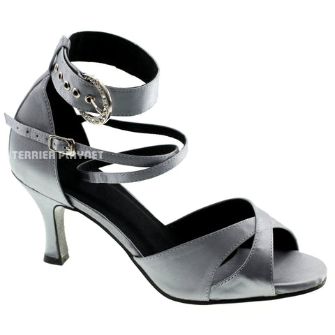 Silver Gray Women Dance Shoes D528