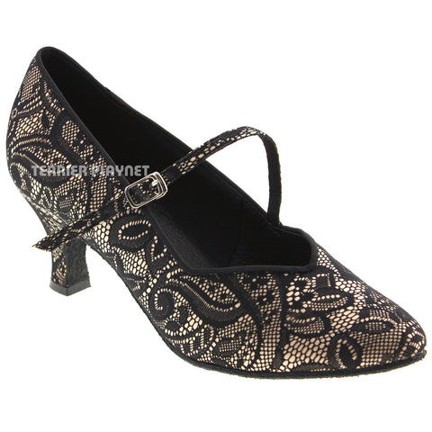 Cream & Black Lace Women Dance Shoes D529