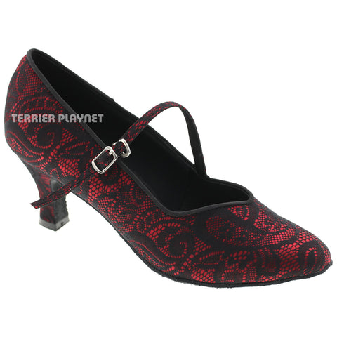 Red & Black Lace Women Dance Shoes D530