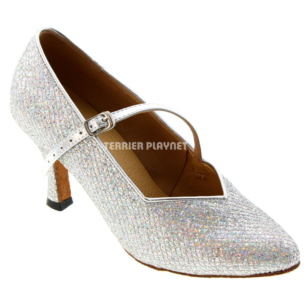 Silver Women Dance Shoes D536 - Terrier Playnet Shop