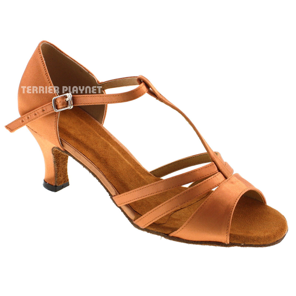 Tan Women Dance Shoes D538 - Terrier Playnet Shop