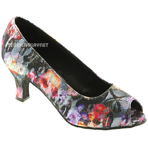 Light Blue & Black Lace Flower Pattern Women Dance Shoes D573