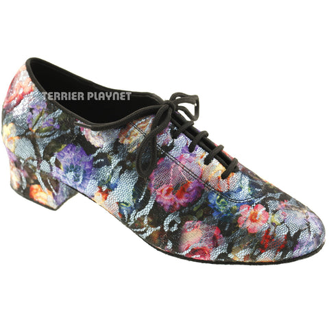 Light Blue & Black Lace Flower Pattern Women Dance Shoes D575