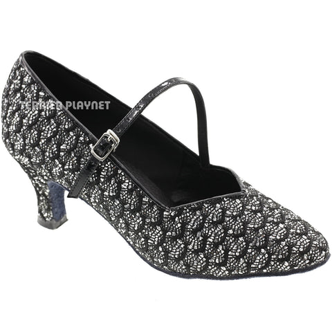 Silver & Black Women Dance Shoes D576