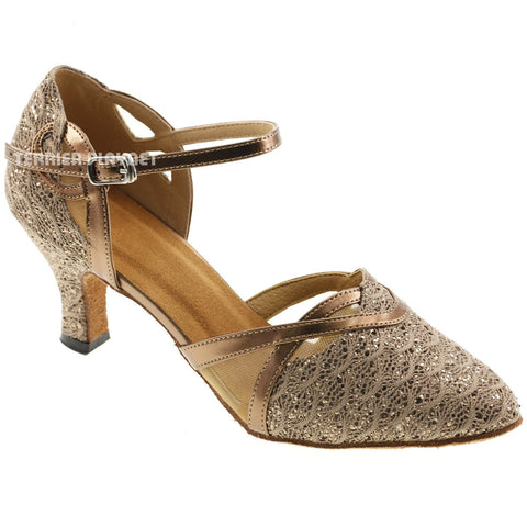 Bronze & Brown Women Dance Shoes D577 UK5.5/US8/EU39 2 Inches / 5cm Heel