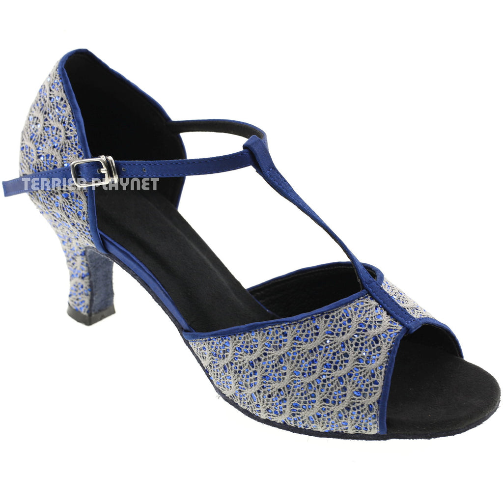 Blue & Gray Women Dance Shoes D580