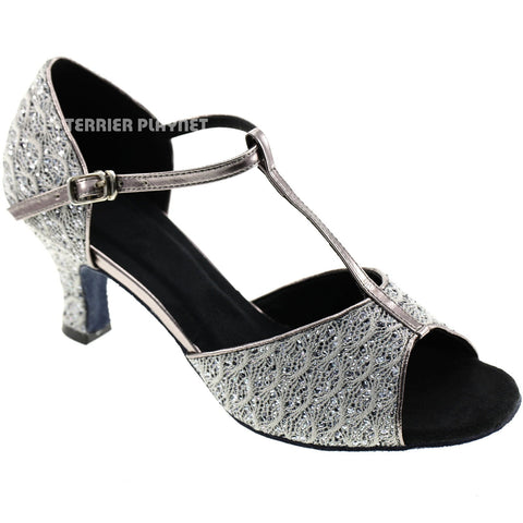 Gray Women Dance Shoes D581 UK5/US7.5/EU38 3 Inches/7.5cm Heel