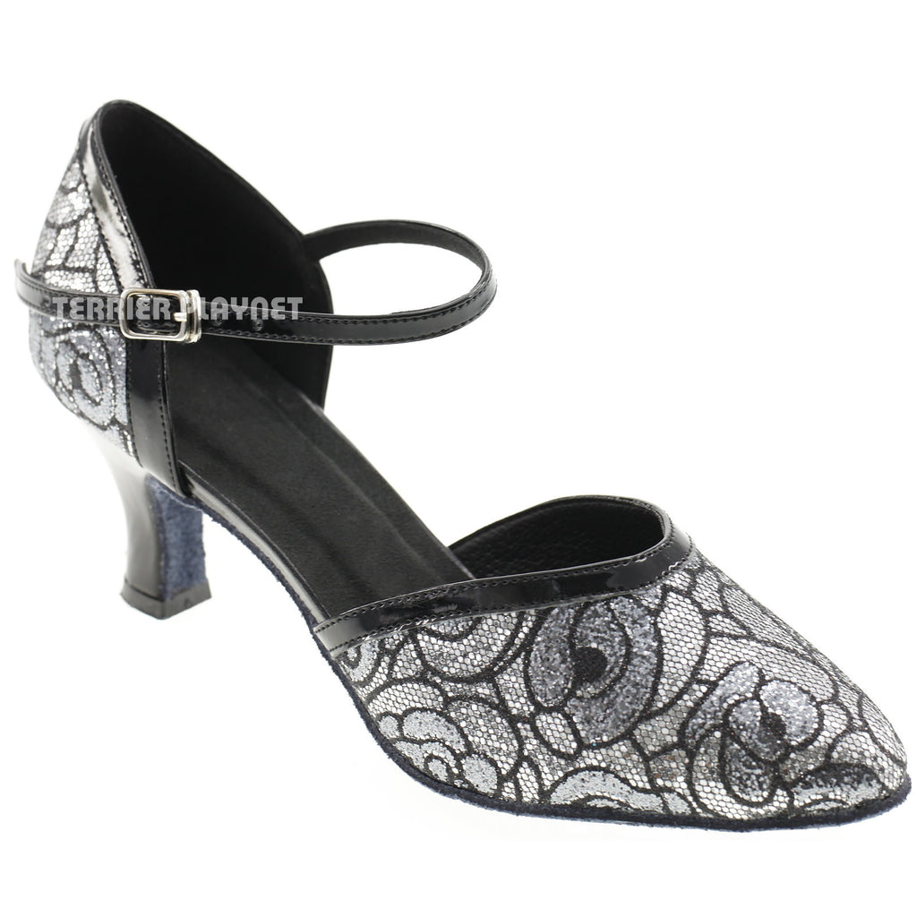Silver & Black Women Dance Shoes D582 - Terrier Playnet Shop