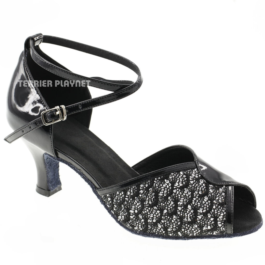 Black & Silver Women Dance Shoes D588 - Terrier Playnet Shop