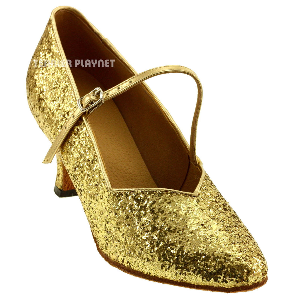 Gold Women Dance Shoes D594 - Terrier Playnet Shop
