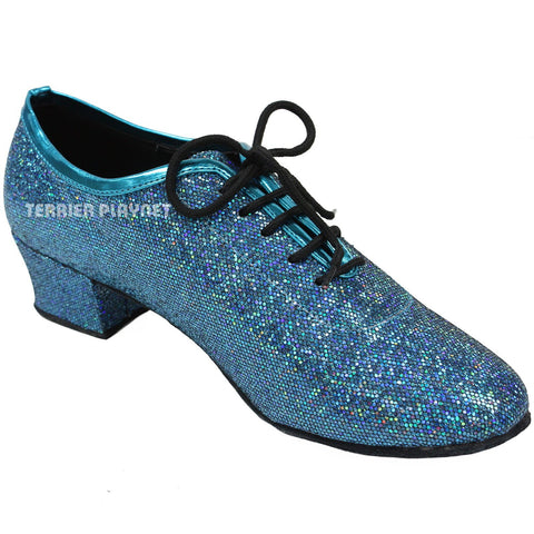 Blue Women Dance Shoes D618 UK6/US8.5/EU39.5 1.5 Inches / 3.75cm Heel