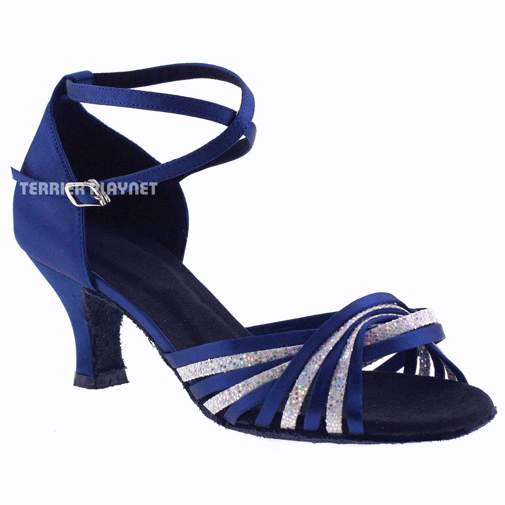 Blue & Silver Women Dance Shoes D628 - Terrier Playnet Shop
