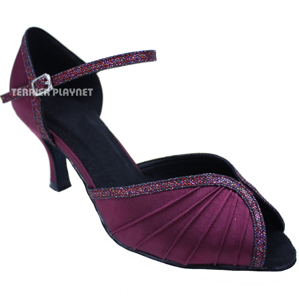 Wine Red Women Dance Shoes D646 - Terrier Playnet Shop