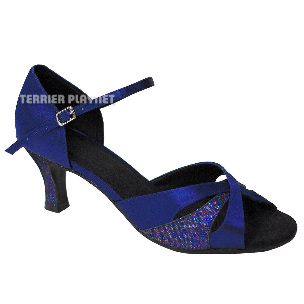 Blue & Glitter Women Dance Shoes D652 UK6.5/US9/EU40.5 2 Inches/5cm Heel