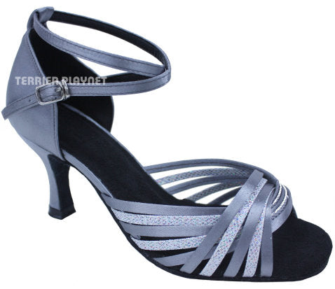 Silver Gray & Silver Multi-Color  Women Dance Shoes D666 UK5/US7.5/EU38 3 Inches / 7.5cm Heel - Terrier Playnet Shop