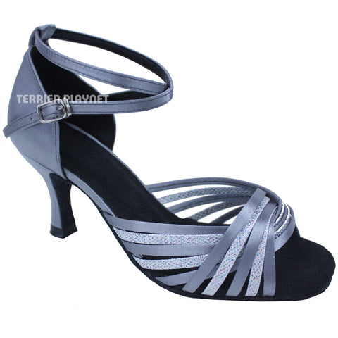 Silver Gray & Silver Multi-Color Women Dance Shoes D666