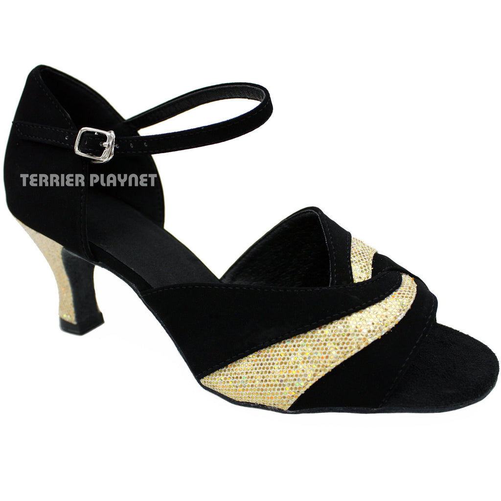 Black & Gold Women Dance Shoes D66 - Terrier Playnet Shop