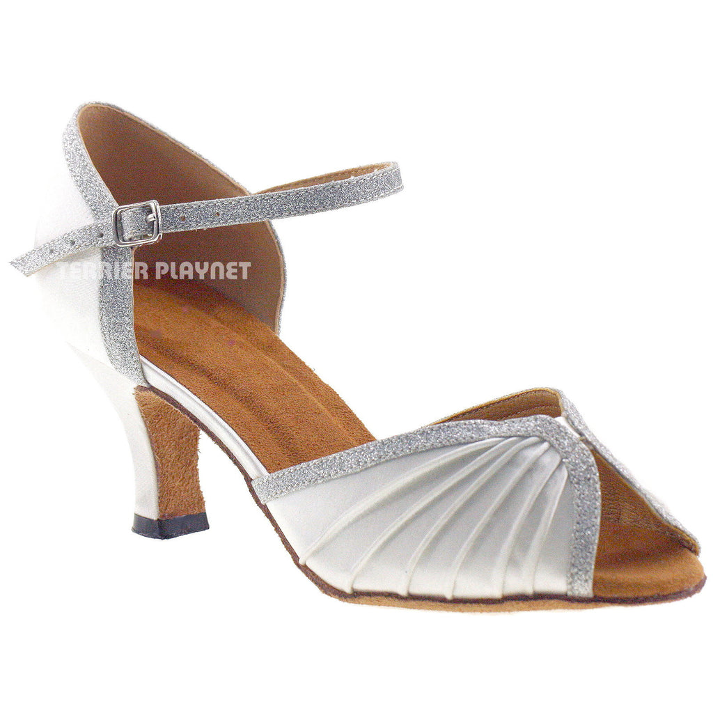 White & Silver Women Dance Shoes D674 - Terrier Playnet Shop