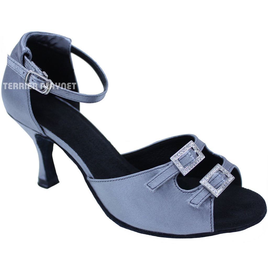 Silver Gray Women Dance Shoes D686 - Terrier Playnet Shop