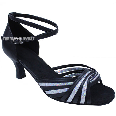 Black & Silver Women Dance Shoes D697 UK8/US11/EU42 2 Inches/5cm Heel