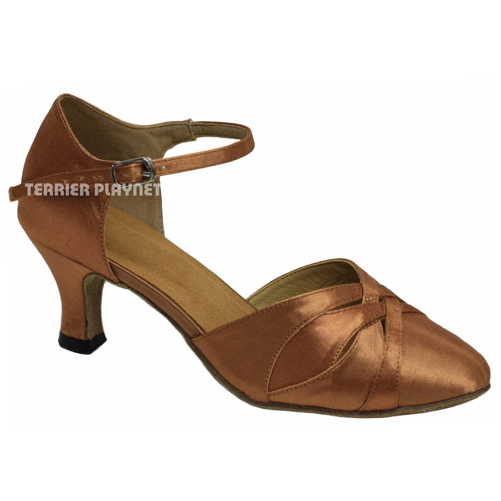 Tan Women Dance Shoes D698 - Terrier Playnet Shop