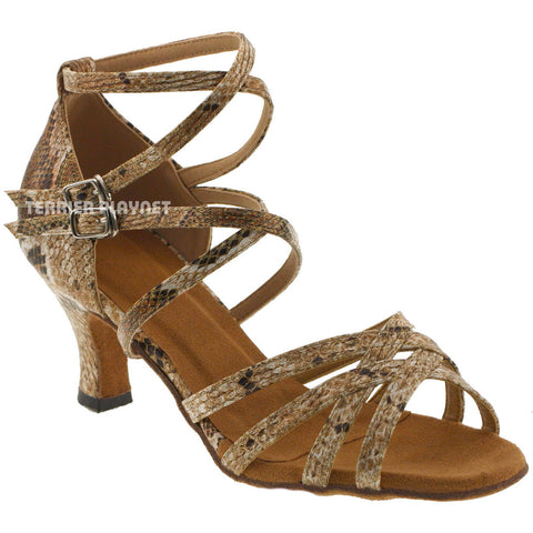 Snake Skin Pattern Women Dance Shoes D711 UK8.5/US11/EU42 3 Inches / 7.5cm Heel