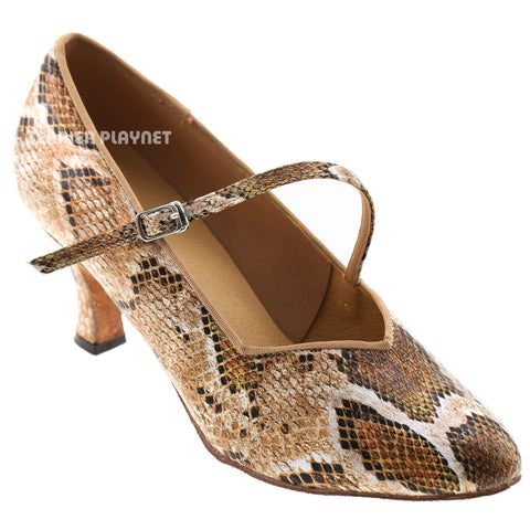 Snake Skin Pattern Women Dance Shoes D716