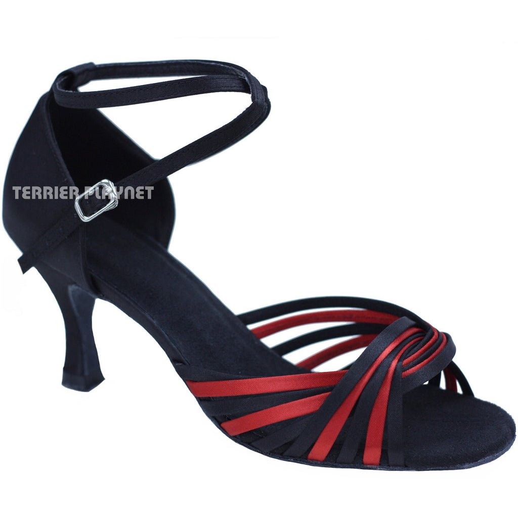 Black & Red Women Dance Shoes D724 - Terrier Playnet Shop