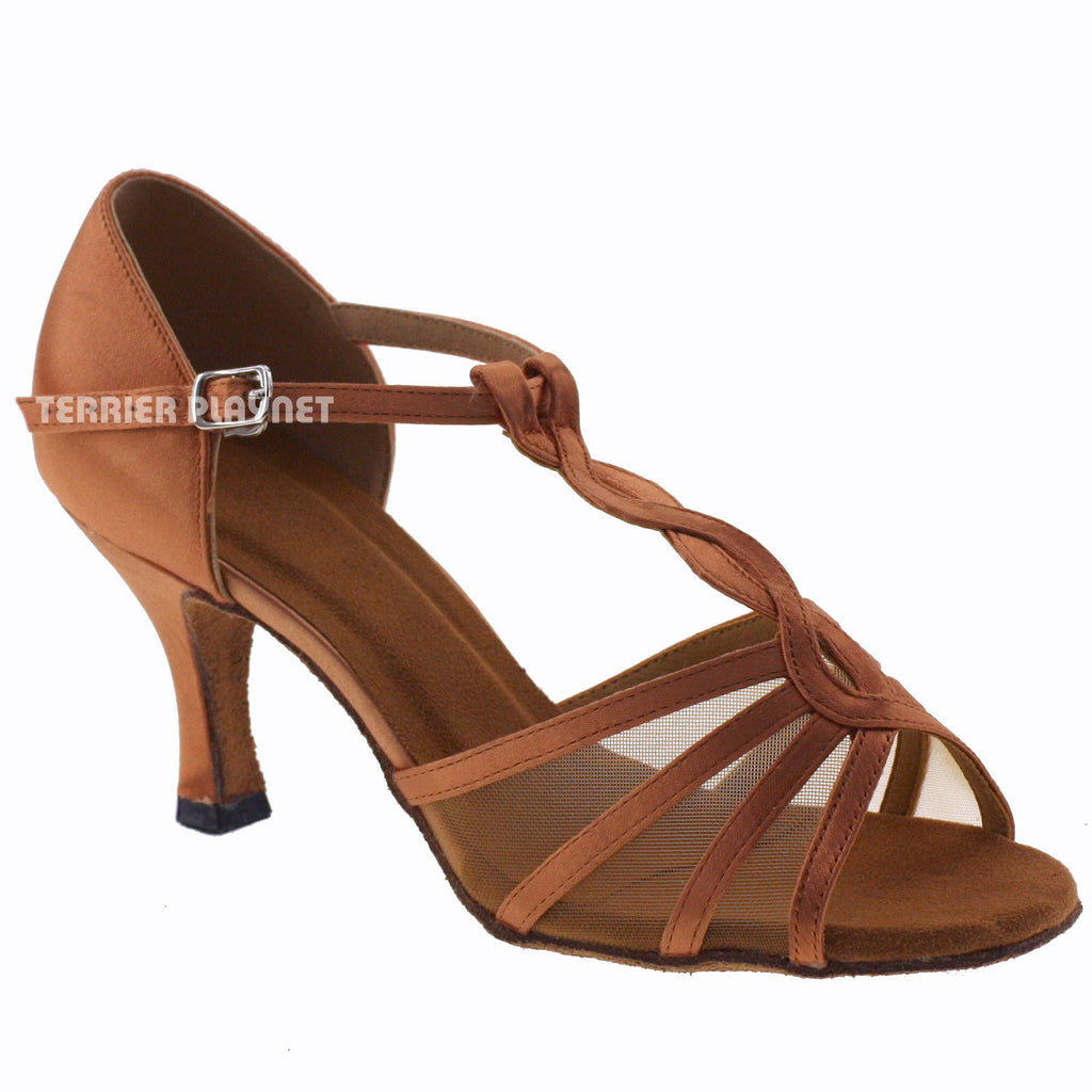 Tan Women Dance Shoes D726 UK5/US7.5/EU38 3 Inches/7.5cm Heel - Terrier Playnet Shop