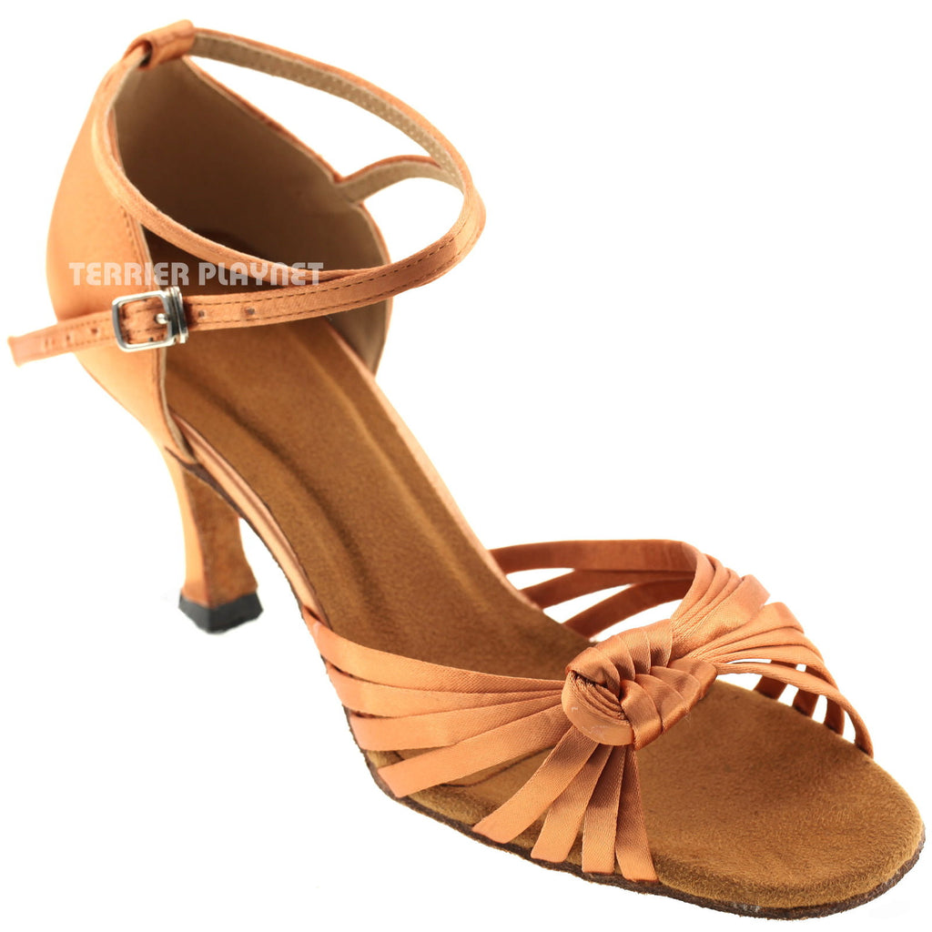 Tan Women Dance Shoes D728 - Terrier Playnet Shop