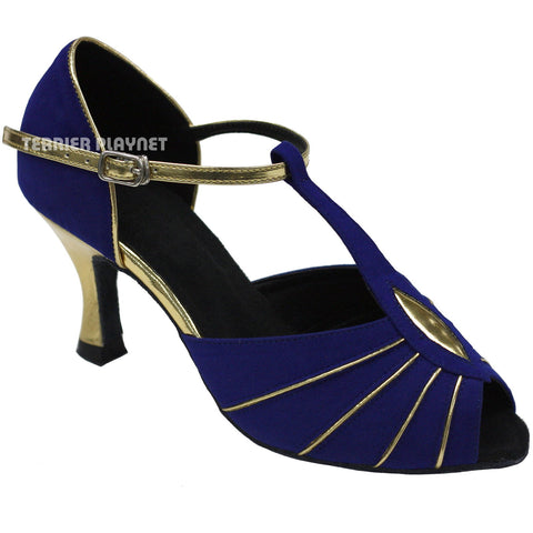 Blue & Gold Women Dance Shoes D733