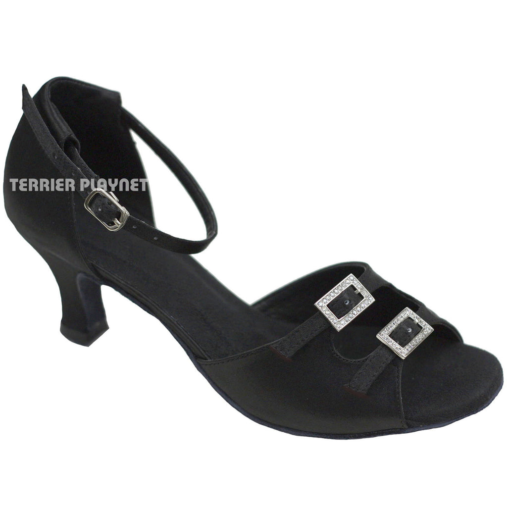 Black Women Dance Shoes D734 UK7/US9.5/EU40.5 2 Inches/5cm Heel - Terrier Playnet Shop