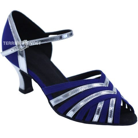 Blue & Silver Women Dance Shoes D738
