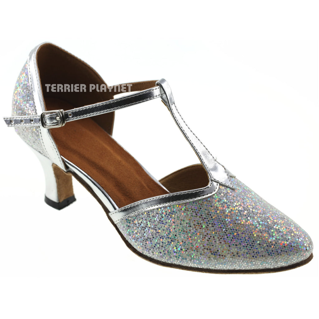 Silver Women Dance Shoes D741 - Terrier Playnet Shop