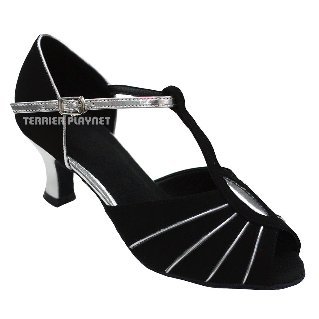 Black & Silver Women Dance Shoes D743 - Terrier Playnet Shop