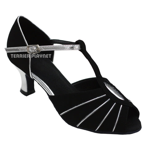 Black & Silver Women Dance Shoes D743
