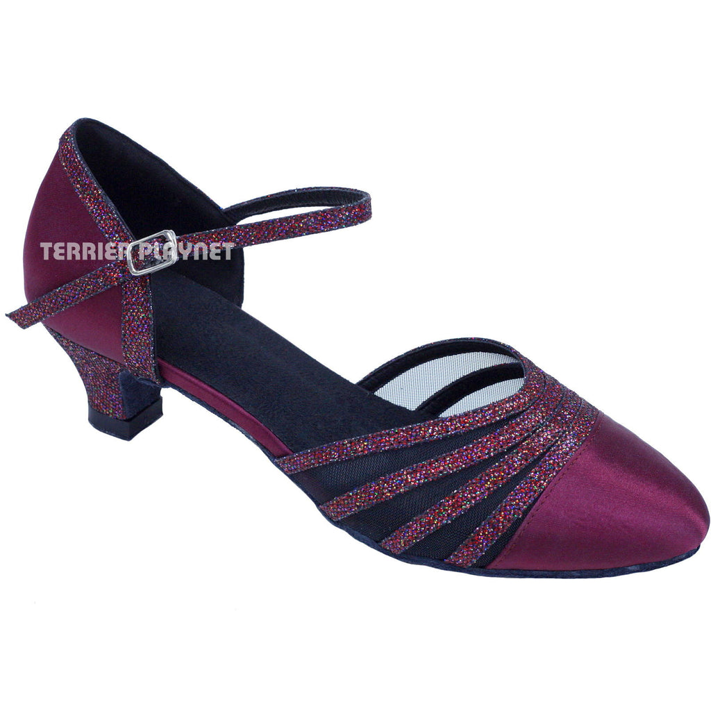 Wine Red Women Dance Shoes D763 - Terrier Playnet Shop
