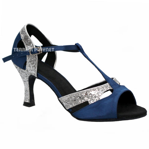 Blue & Silver Women Dance Shoes D765