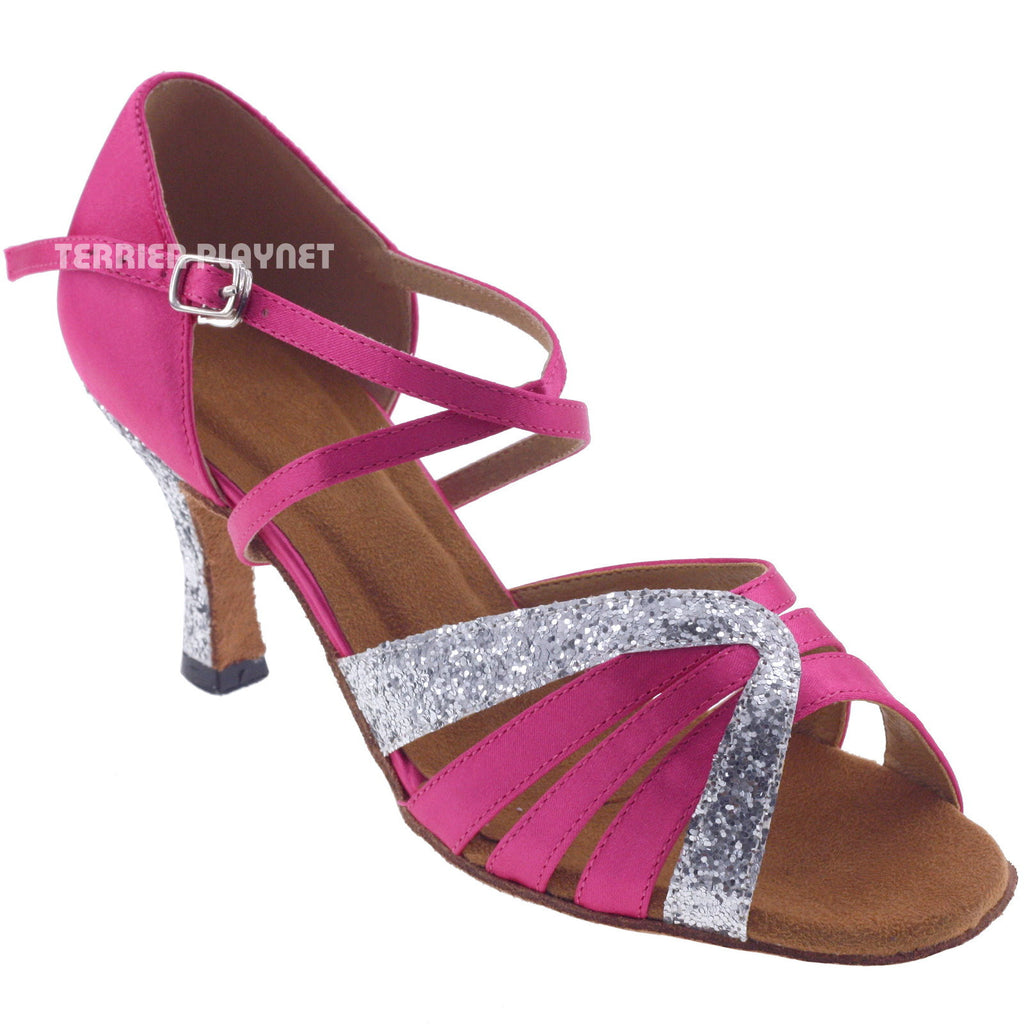 Hot Pink & Silver Women Dance Shoes D768 - Terrier Playnet Shop