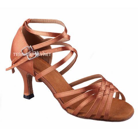Tan Women Dance Shoes D769 UK2/US4.5/EU34 3.25 Inches/8.25cm Heel