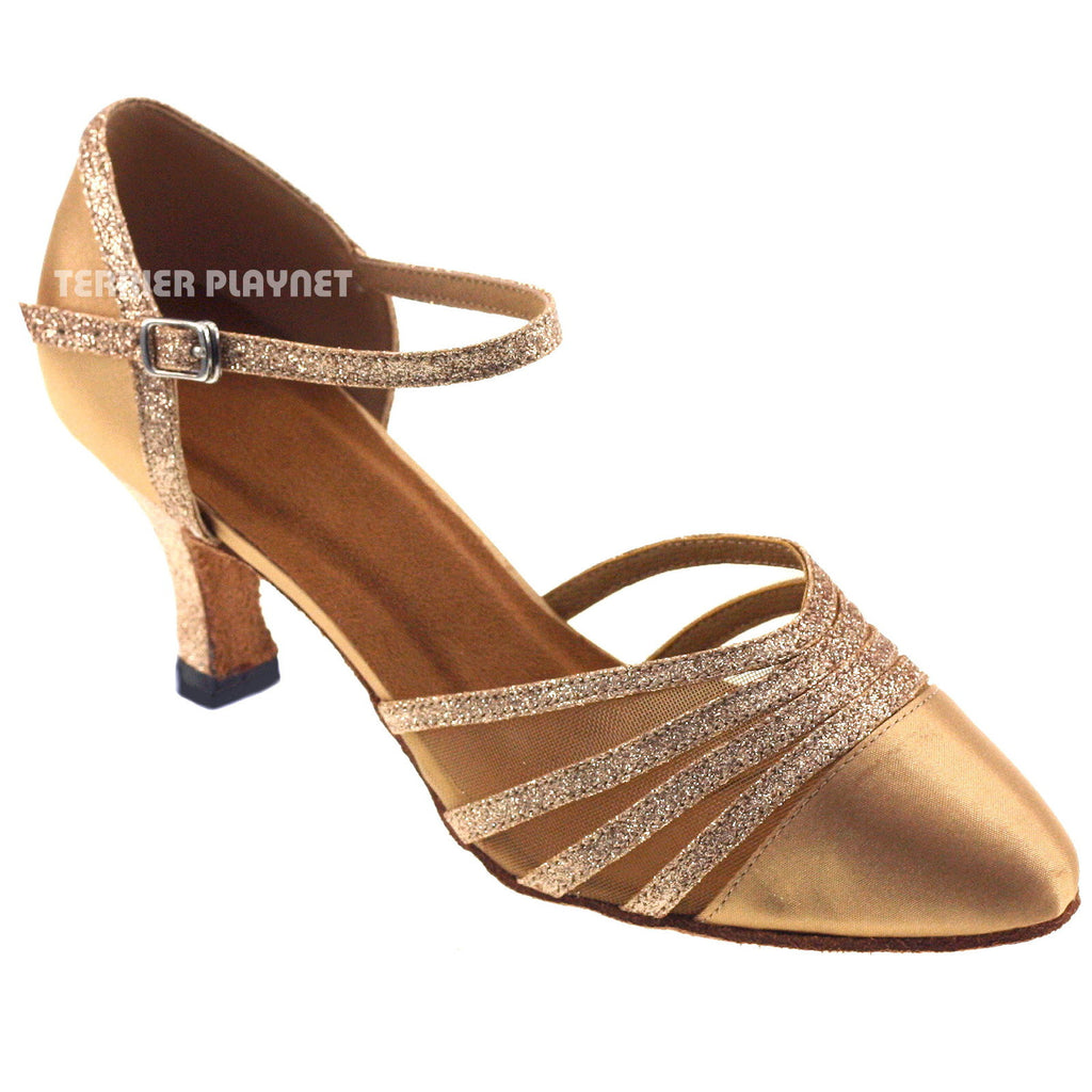 Gold Women Dance Shoes D76 - Terrier Playnet Shop