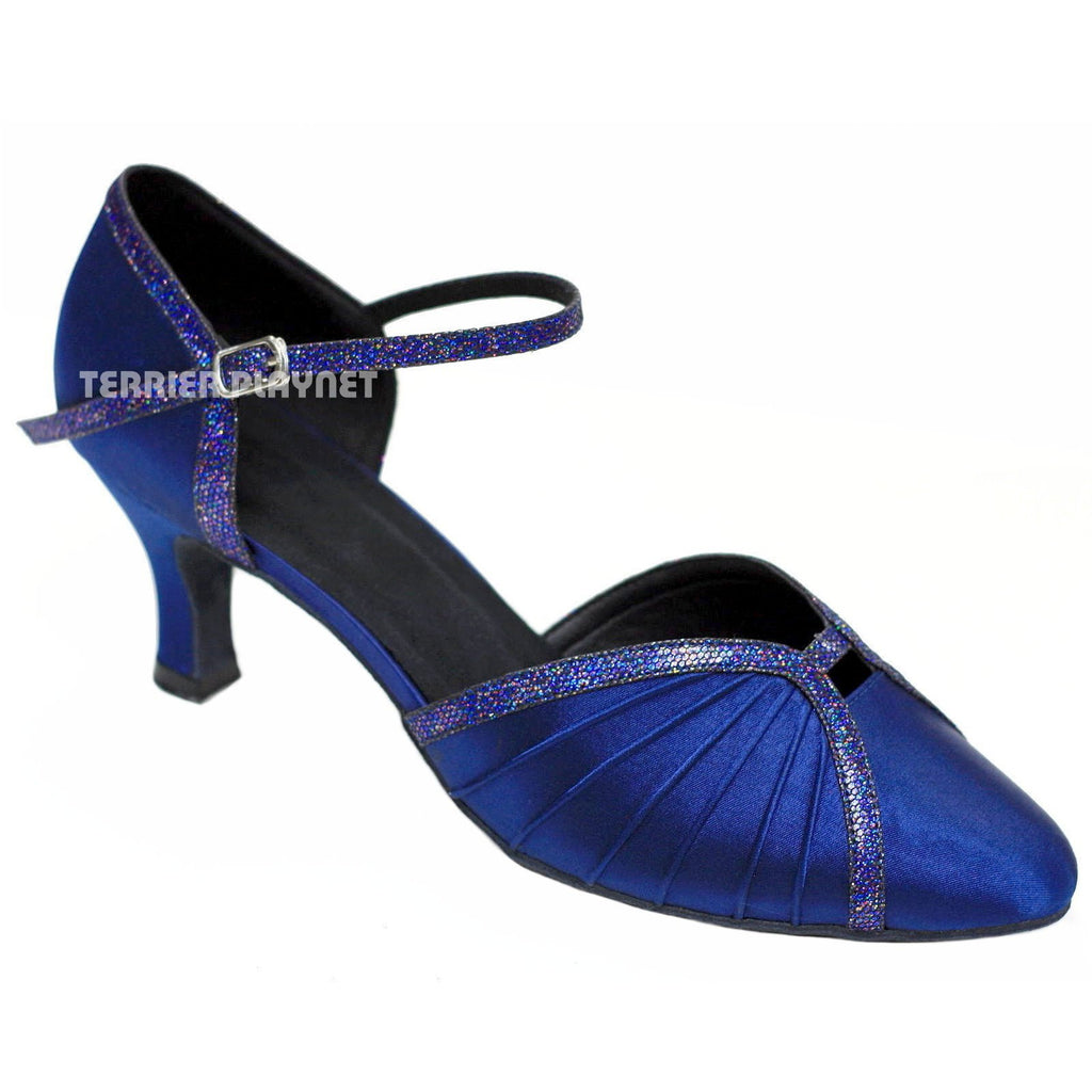 Blue Women Dance Shoes D781 UK5/US7.5/EU38 3 Inches/7.5cm Heel - Terrier Playnet Shop