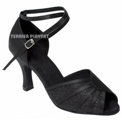 Black Women Dance Shoes D793 UK7/US9.5/EU40.5 3.25 Inches/8.25cm Heel