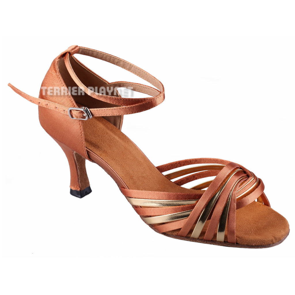 Tan & Glod Women Dance Shoes D797 - Terrier Playnet Shop