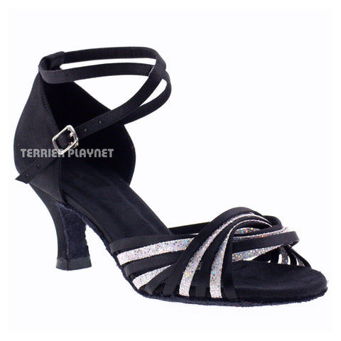 Black & Silver Women Dance Shoes D802