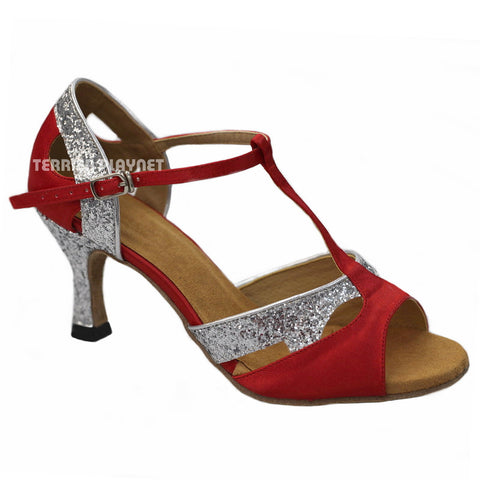 Red & Silver Women Dance Shoes D803