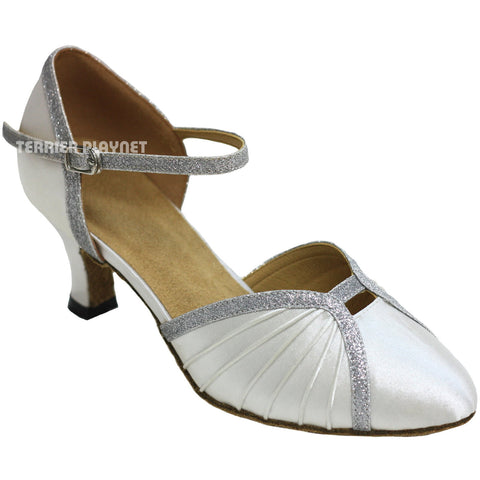 White & Silver Women Dance Shoes D812