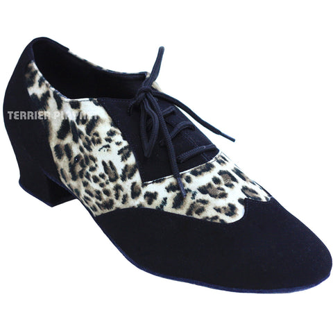 Black & Leopard Women Dance Shoes D822