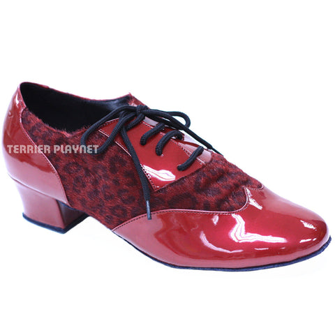 Red & Leopard Women Dance Shoes D824